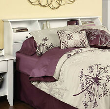 Headboard Full Queen Size Bed Bedroom Furniture Bookcase Storage Drawers White
