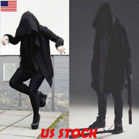 Mens Goth Gothic Punk Jacket Hooded Jacket Long Cardigan Ninja Hoodie Coat M~2XL