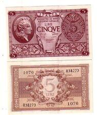 Italia 5  lire 1944 Bolaffi Cavallaro Giovinco FDS UNC  pick 31c  lotto 4023