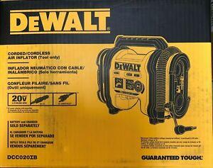Dewalt DCC020IB Corded/Cordless Air Inflator 20 volt 12 volt DC NEW