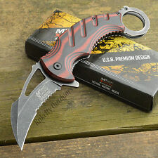 MTech Extreme Ballistic 440C Stonewash Red/Black Karambit Assisted Knife MX-A833