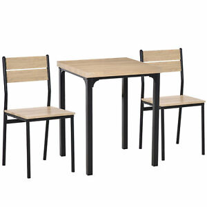 Modern Dining Furniture Set Wooden Chair Bar Table Compact Space Saving Oak Tone