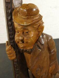Alte Stehlampe vor 45 geschnitzte Figur Trinker Laterne Lampe handarbeit Unikat