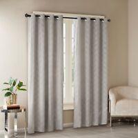 "Revrie Geometric Embossed Poly Velvet (1) Window Curtain Panel Gray 50"" X 95"""