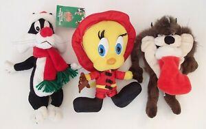 3 x 1998 Christmas Warner Bros Taz Santa Sylvester Tweety Pie Fireman Soft Toys
