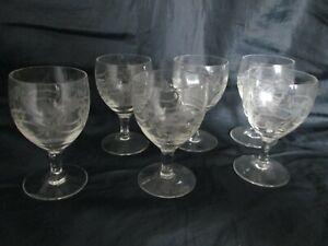 x6 Vintage Cut Etched Crystal Glass Dessert Port Sherry Liqueur Glasses