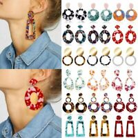 Boho Geometric Women Lady Dangle Drop Hook Acrylic Resin Ear Stud Earrings Gift
