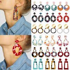 NEW Acrylic Statement Tortoise Shell Earrings Fashion Hoop Resin Dangle Ear Stud