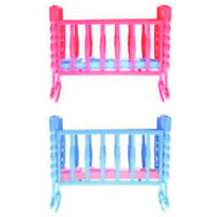 Mini Dolls House Kids Toy Rocking Cradle Bed for Doll Accessories Toys- 3C
