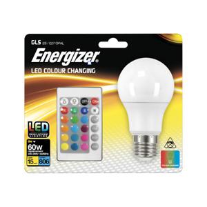 Energizer 9W (60W) 15 Colour Changing ES GLS LED RGB+W with Remote Control