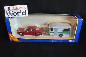 Corgi Mercedes-Benz 190 + Caravan 1:43 red (JS)