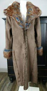 randolph duke the look Womens Medium Brown Faux Fur Shearling Long Sleeve Coat