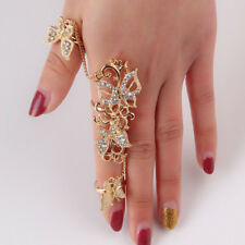Adjustable Opening Rings Siamese Finger Chain Butterfly Women Jewelry Hollow