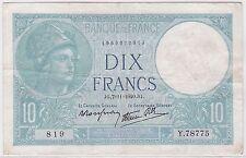 BILLET 10 FRANCS MINERVE JG 7 11 1940 JG 819 Y 78775