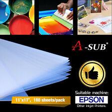 A-SUB 100 Sheets 11x17 Waterproof Inkjet Silk Transparency Film Screen Printing