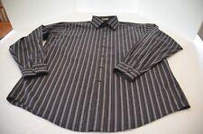 Pronto-Uomo Non Iron Men Button Down Shirt Size XL Black White Strip Long Sleeve