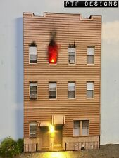 "O Scale Scratch Built ""APARTMENT BUILDING ON FIRE"" LED Front/Flat MTH Lionel"