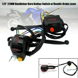 "Pair 7/8"" Motorcycle L&R Handlebar Horn Button Fog Light Switch w/ Handle Brake"