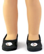 Black Dress Shoes w/Rhinestone for 14.5 inch American Girl Wellie Wishers Dolls
