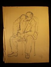 Angry Sitting Man 1953 Original Ink Sketch By C. Schattauer Kelm