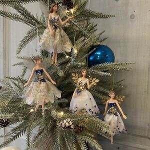 Blue & White Christmas Tree Fairy Gisela Graham Resin Fabric Vintage Glitter