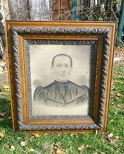 Vtg Victorian LARGE Oak frame Carved Haunted Looking Family Portrait