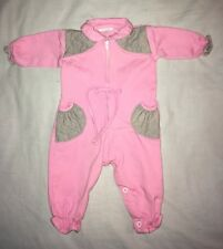 """Vintage 1986 Pink """"Cotton Candy"""" One Piece Baby Girl 0-6M Measurements In Desc"""