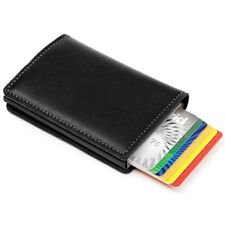 Mens Leather ID Credit Card Holder RFID Protector Money Wallet Clip Card Case UK