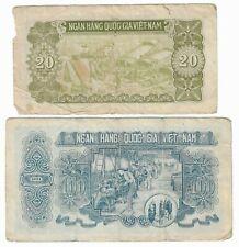 2 VIETNAM 1951 banknotes 100 DONG  P-62a (green) & 20 dong P-60b (olive)