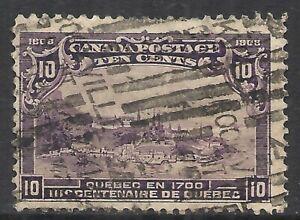 CANADA SCOTT 101 USED F+ - 1908 10c DARK VIOLET QUEBEC ISSUE    CAT $125.00