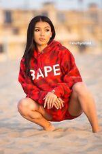 100% Authentic Bape Swarovski hoodie red size Large Rare Shark WGM Rhinestone