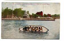 Vintage Postcard  ST JOSEPH MI US Life Saving Crew Capsizing Boat lifeguards