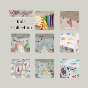 PVC Tablecloths, Childrens Kids Designs, Wipe Clean Vinyl with Non Woven Backing