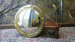 Antique Edwardian Country House Porthole Round Press Brass Convex Wall Mirror