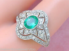 Emerald Platinum Right-Hand Cocktail Ring Art Deco 1.2ctw Diamond .80ct Oval