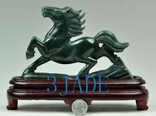 Hand Carved Natural Nephrite Jade Running Horse Statue /Sculpture /Carving
