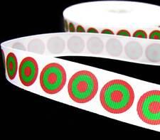 """5 Yd Christmas White Red Green Bullseye Polka Dot Grosgrain Ribbon 7/8""""W"""