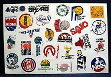 1980's NBA Basketball Team Logos Complete Sticker Sheet