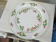 "2 Sango White Christmas 12"" Round Chop/Serving Plate Holly Korea"