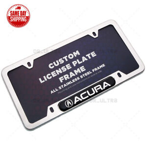 For Acura Sport Front / Rear License Plate Frame Cover Stainless Chrome Aspec