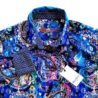 Robert Graham Paisley Mens Sport Shirt Blue Multi-Color Classic Fit $198