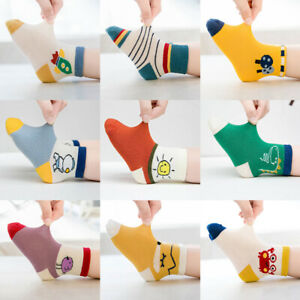 5 Pairs Kids Soft Cotton Socks Boy Girl Baby Cute Cartoon Warm Socks Four Season