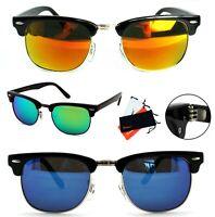Retro Sonnenbrille Rechteckig Verspiegelt Panto 50er Classic Herren Damen BM