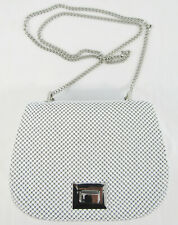 Whiting & Davis White Bubble Mesh Mini Saddle Bag Tuck in Chain