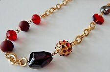 Style & Co 36 inch Multi Tone Red Crystal and Matte Tone Link Necklace
