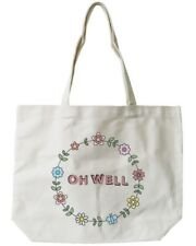 """Women's Canvas Bag- Cute Floral Design """"Oh Well"""" Canvas Tote Bag Natural"""