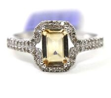 Emerald Cut Yellow Citrine & Diamond Halo Lady's Ring 14k White Gold 1.29Ct