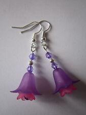 Long Drop / Dangle Earrings - Fuschia - Single Drop - Pink / Purple