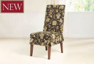 Tennyson onyx black By Waverly One Piece dining chair one piece Slipcover