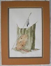 indain blanket,lance and shield watercolor painting by Dyanne Strongbow